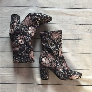 Nasty Gal Floral Tibby Tapestry Heeled Boots